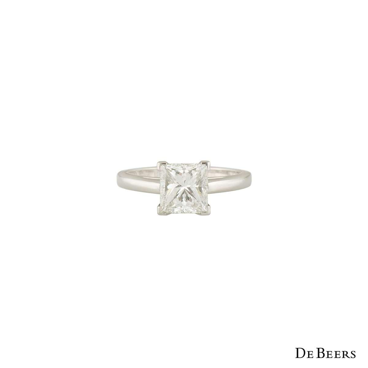 De Beers Diamond Platinum Princess Cut Ring 2.50ct G/VVS1